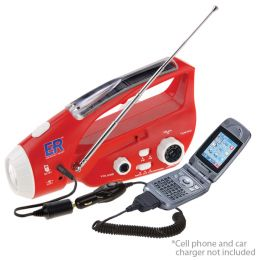 Solar / Hand-Crank Powered Flashlight, Radio & AM/ FM Radio